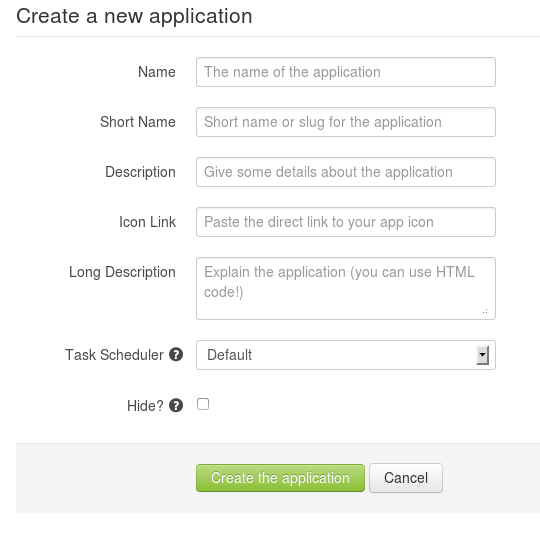 Web form for creating an app